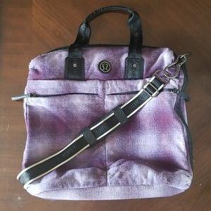Lululemon Fast in Flight  tote purple plaid wool